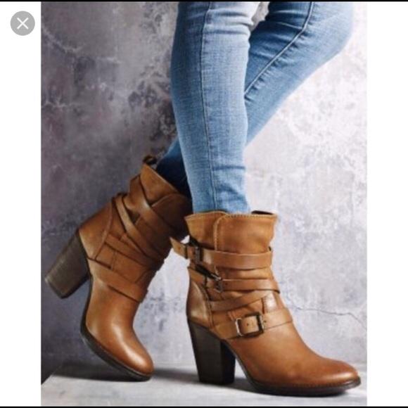e7948ac0048 Steve Madden Yale Cognac Leather Boots Heel Strap